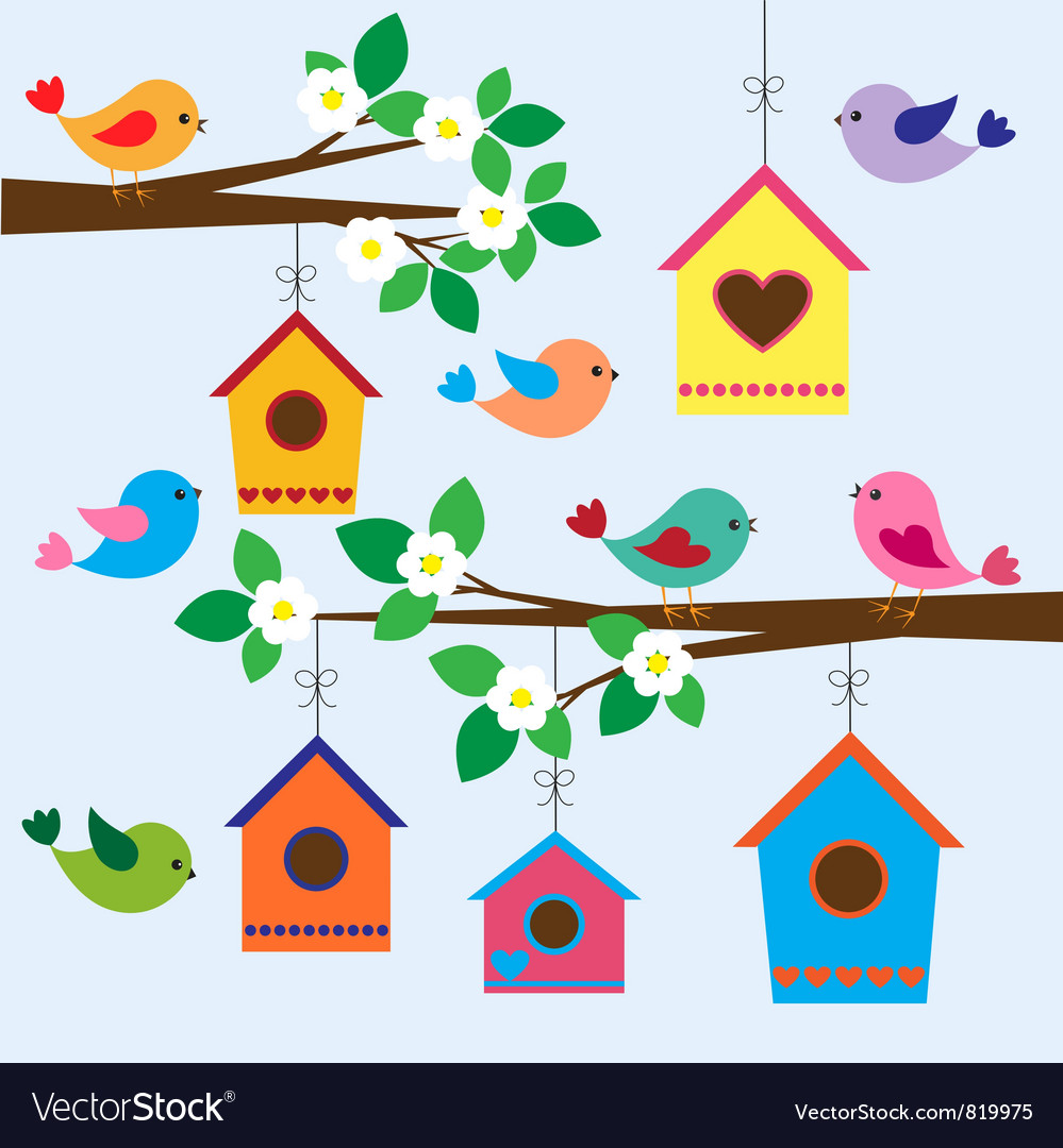 Birdhouses in spring vector | Price: 1 Credit (USD $1)