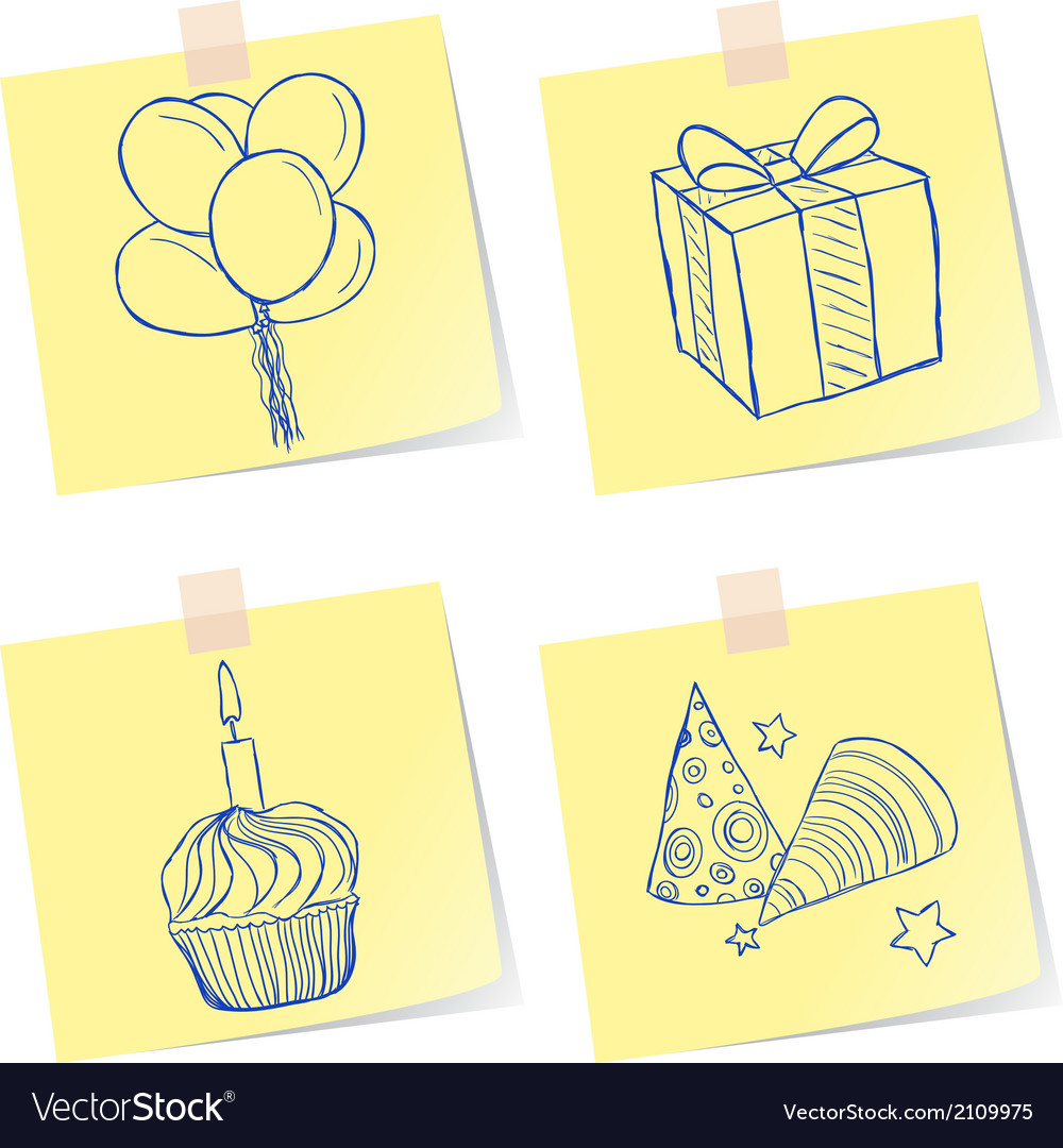 Birthday party sketches vector | Price: 1 Credit (USD $1)