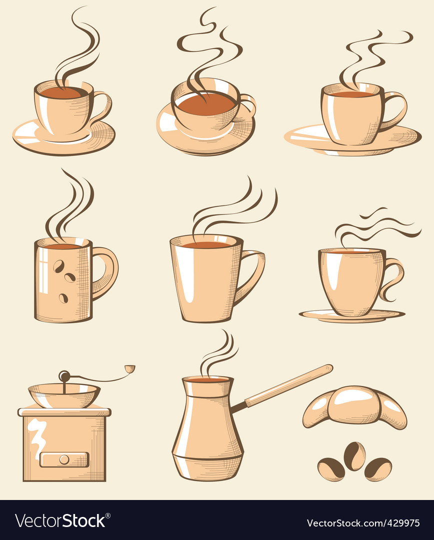 Coffee line art vector | Price: 3 Credit (USD $3)