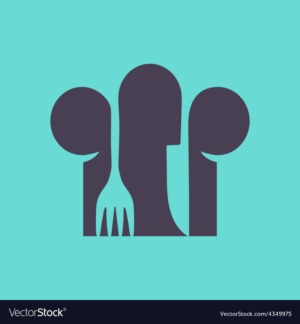 Cooks hat with fork and spoon in flat design vector | Price: 1 Credit (USD $1)