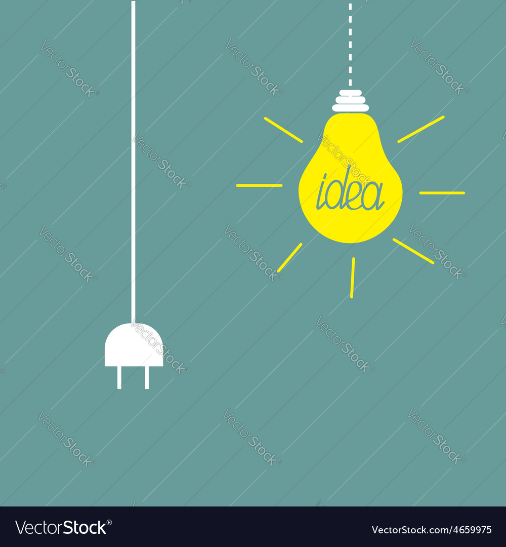 Hanging yellow light bulb and cord plug idea vector | Price: 1 Credit (USD $1)