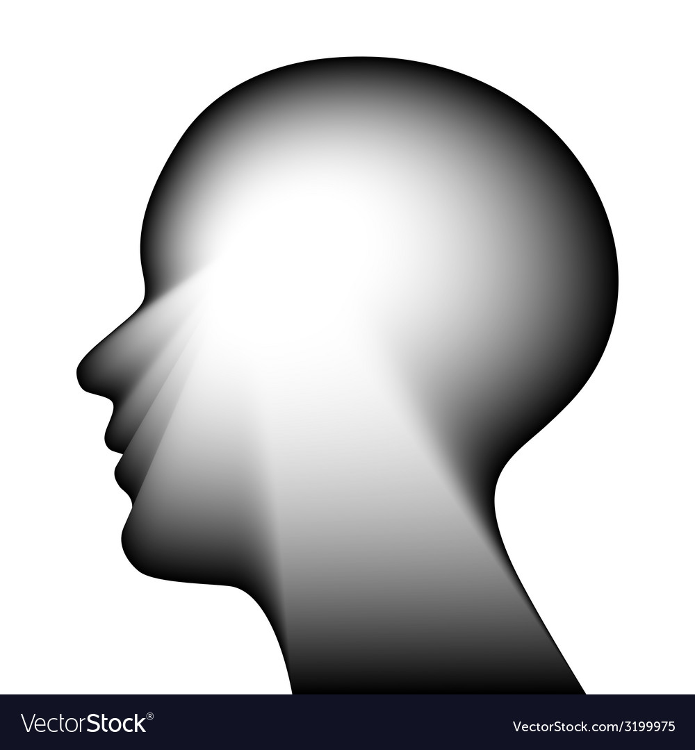 Head for the concept of thought isolated on a whit vector | Price: 1 Credit (USD $1)