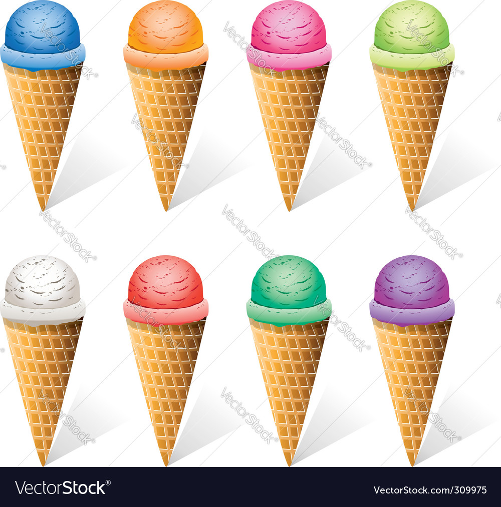 Ice-cream cones vector | Price: 1 Credit (USD $1)