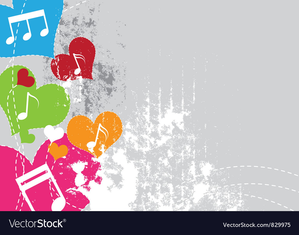 Music in heart with grunge background vector | Price: 1 Credit (USD $1)