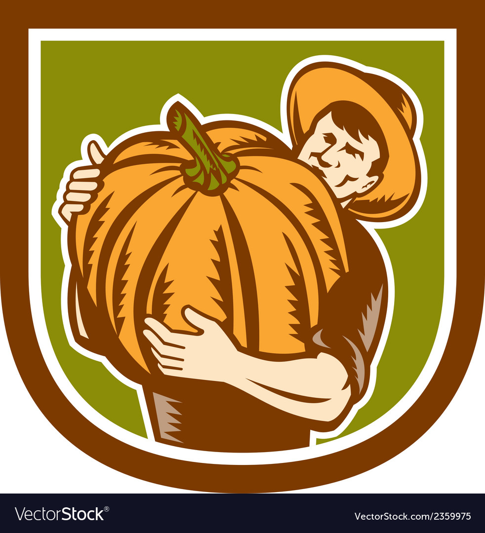 Organic farmer holding pumpkin shield retro vector | Price: 1 Credit (USD $1)