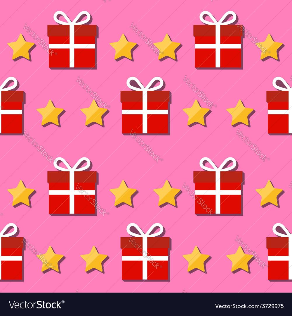 Seamless pattern giftbox and stars symbols vector | Price: 1 Credit (USD $1)