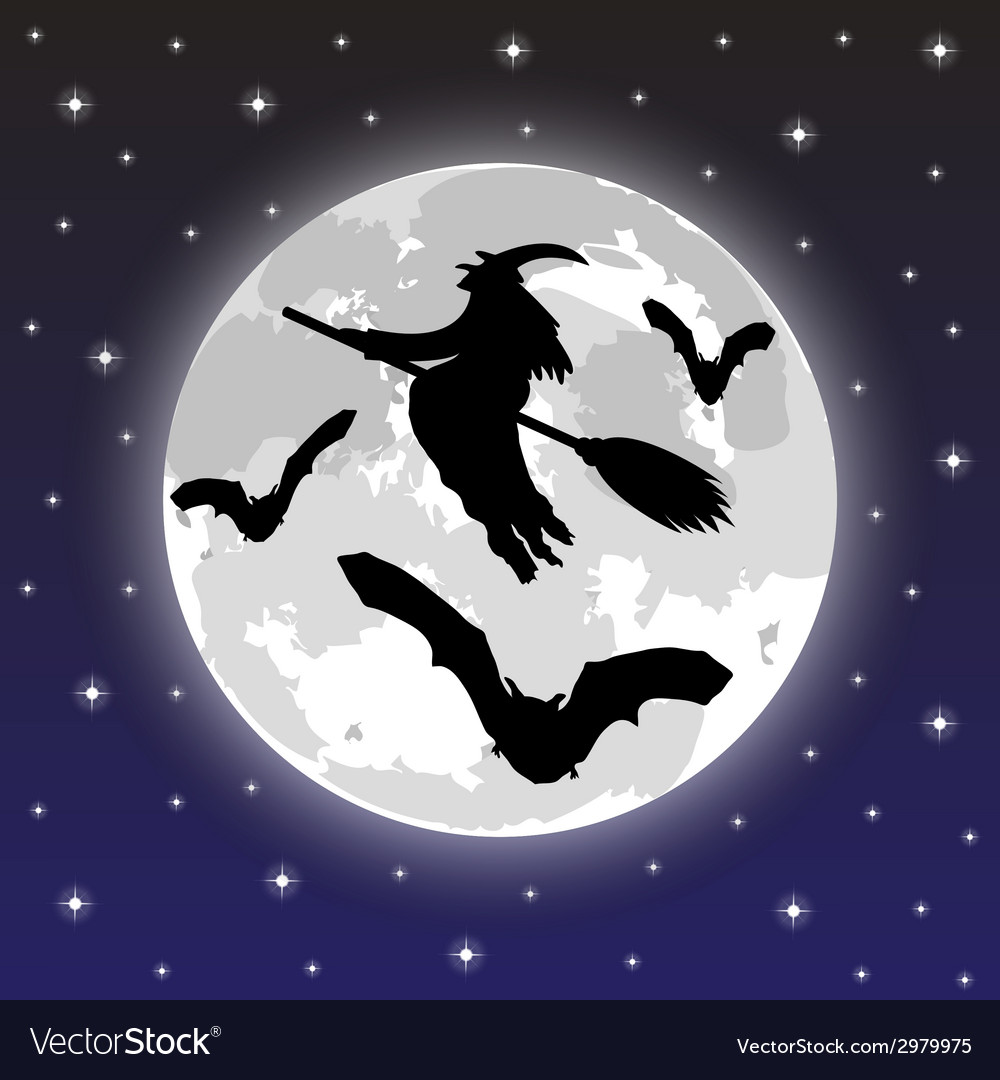 Silhouettes of witches and bats vector | Price: 1 Credit (USD $1)