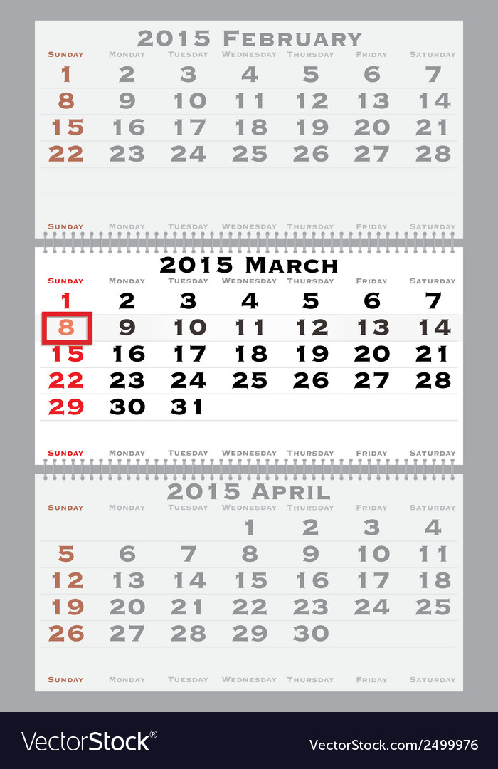 2015 march with red dating mark vector | Price: 1 Credit (USD $1)