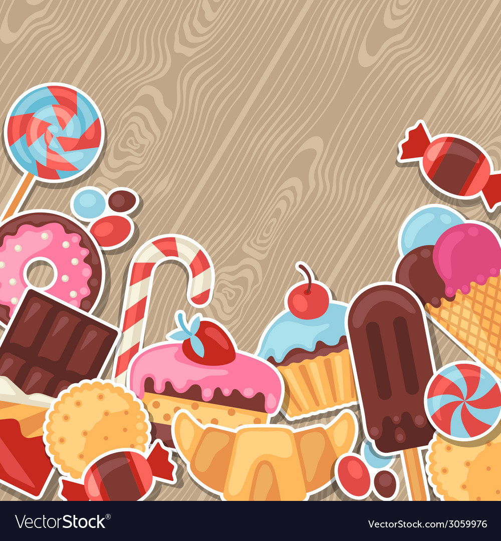 Background with colorful sticker candy sweets and vector