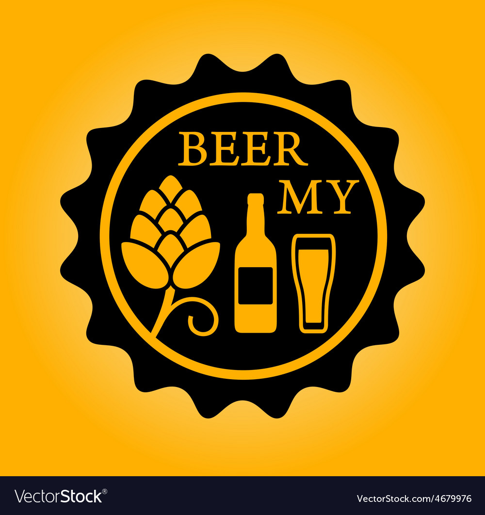 Beer icon with hop glass and bottle vector | Price: 1 Credit (USD $1)