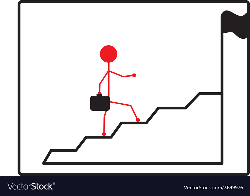 Business man climbs up stair steps to achieve vector | Price: 1 Credit (USD $1)