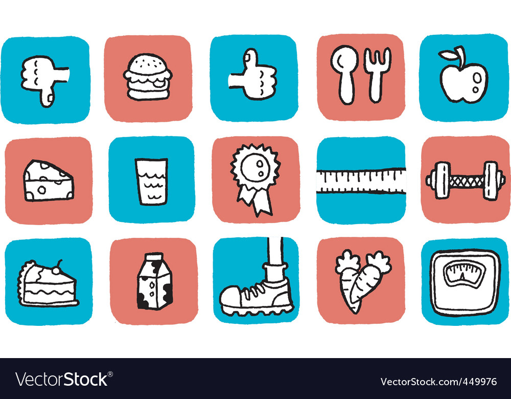 Doodle icon set  health vector | Price: 1 Credit (USD $1)
