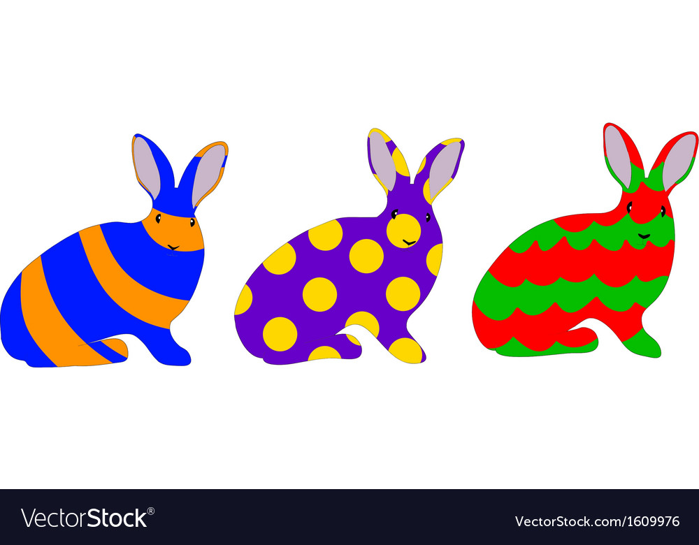 Easter bunny set vector | Price: 1 Credit (USD $1)