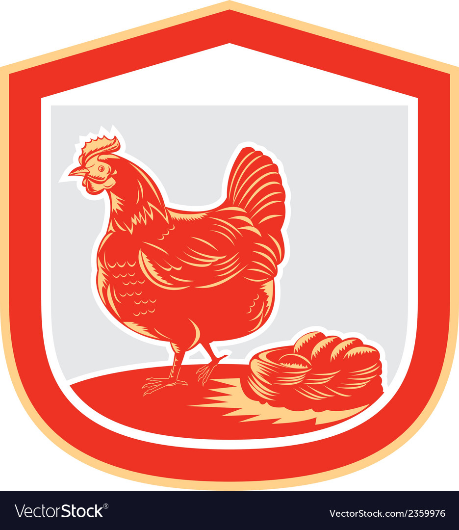Hen chicken nest egg shield retro vector | Price: 1 Credit (USD $1)
