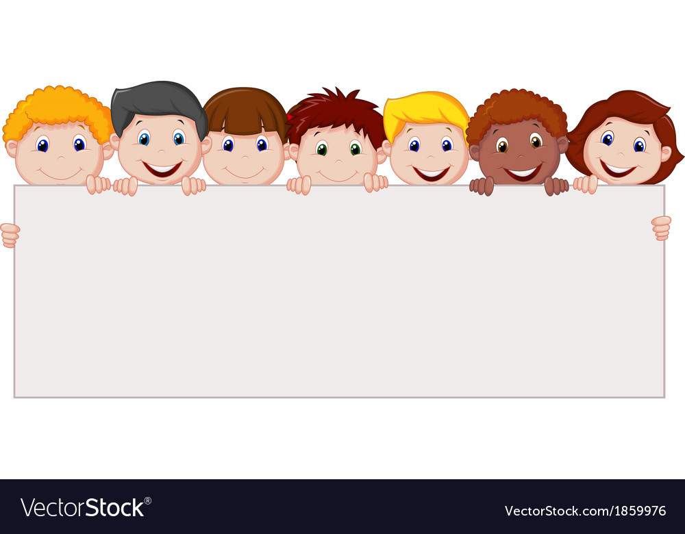 Kids cartoon with blank sign vector | Price: 1 Credit (USD $1)