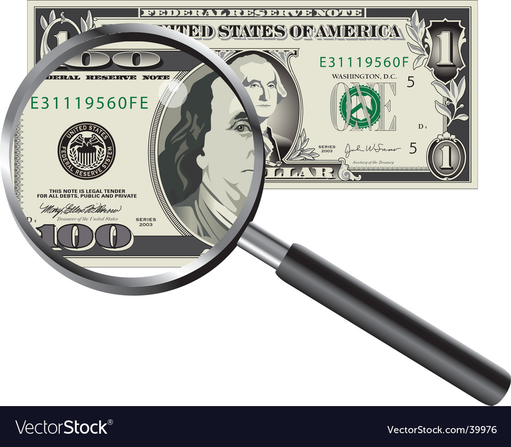 Money magnifier vector | Price: 1 Credit (USD $1)