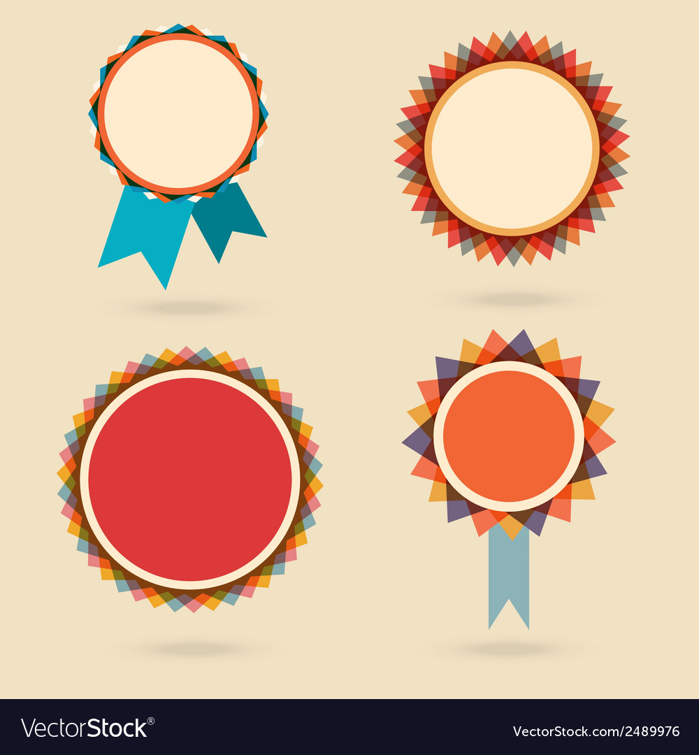 Set of four vintage award bagdes vector | Price: 1 Credit (USD $1)