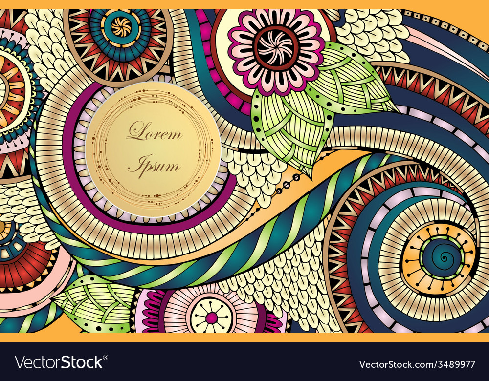 Abstract asian ethnic floral retro doodle pattern vector | Price: 1 Credit (USD $1)