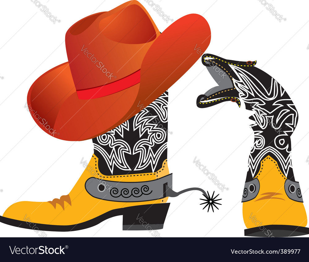 Cowboy shoes and hat vector | Price: 1 Credit (USD $1)