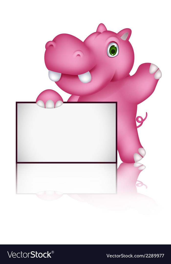 Cute hippo cartoon with blank sign vector | Price: 1 Credit (USD $1)