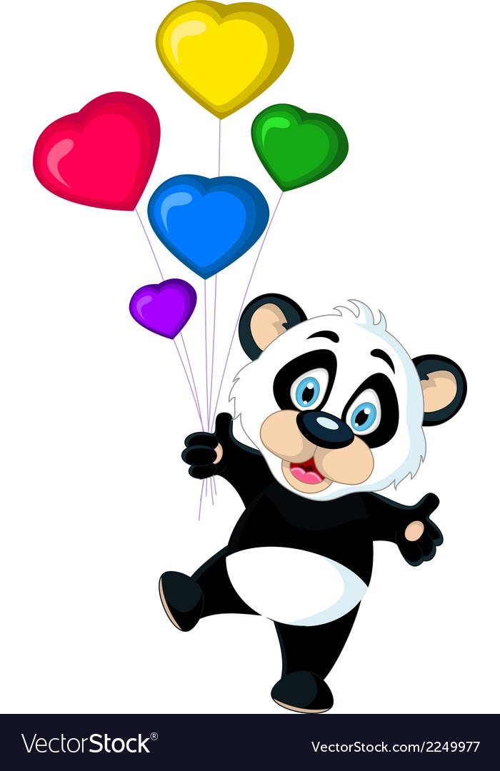 Cute panda cartoon holding balloon vector | Price: 1 Credit (USD $1)