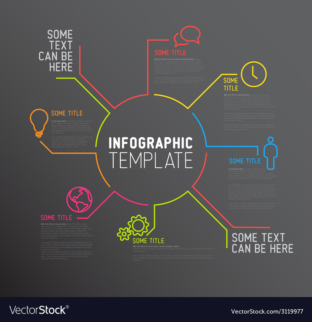 Dark infographic report template made from lines vector | Price: 1 Credit (USD $1)