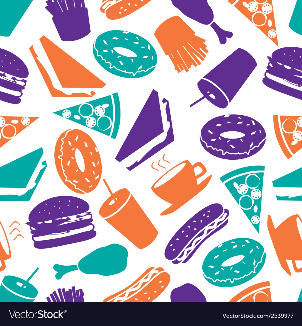 Fast food colorful pattern eps10 vector | Price: 1 Credit (USD $1)