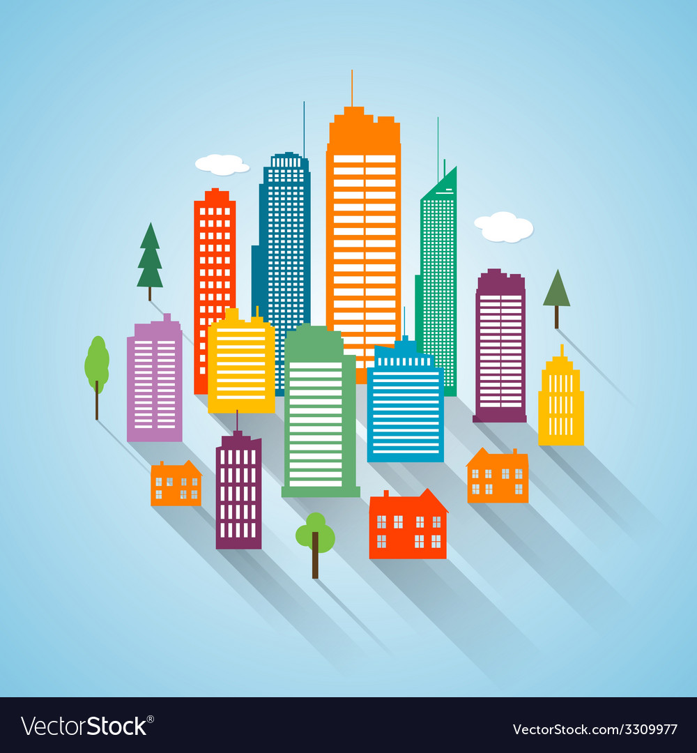 Flat building design cityscape background vector | Price: 1 Credit (USD $1)