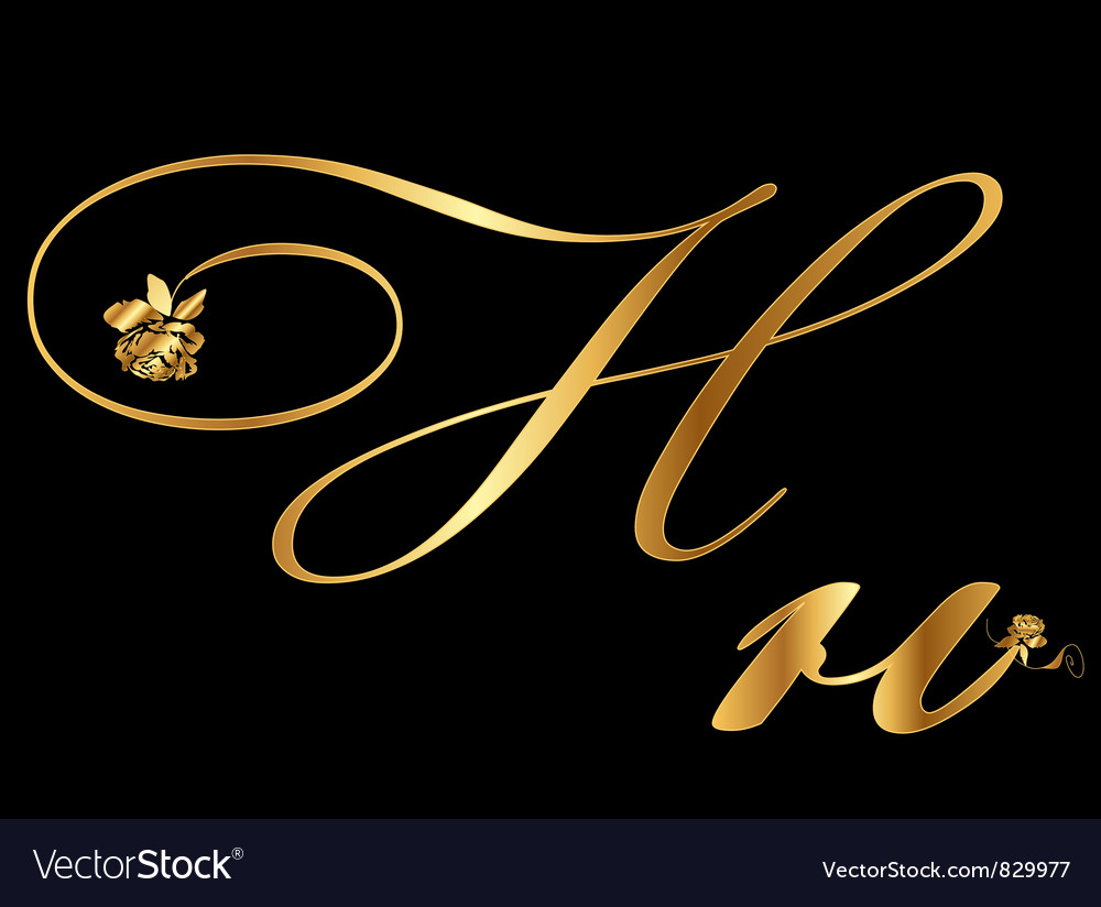 Gold letter h with roses vector | Price: 1 Credit (USD $1)