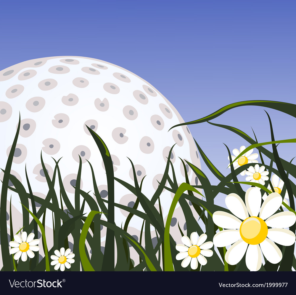 Golf ball on the grass vector   Price: 1 Credit (USD $1)
