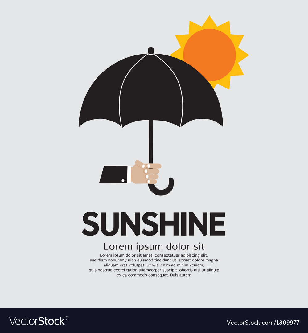 Hand holding umbrella under the sun vector | Price: 1 Credit (USD $1)