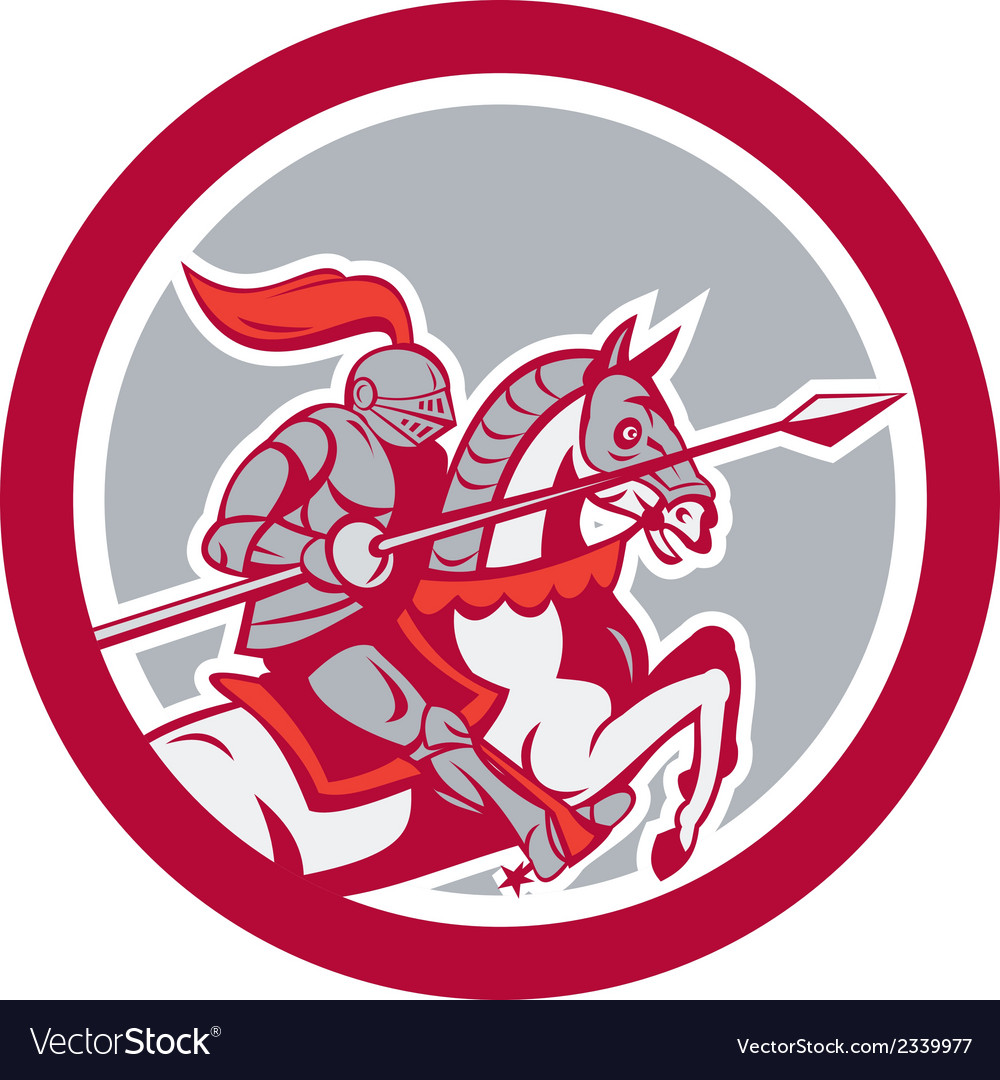 Knight riding horse lance circle cartoon vector | Price: 1 Credit (USD $1)