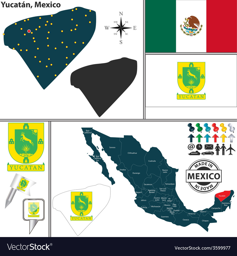 Map of yucatan vector | Price: 1 Credit (USD $1)