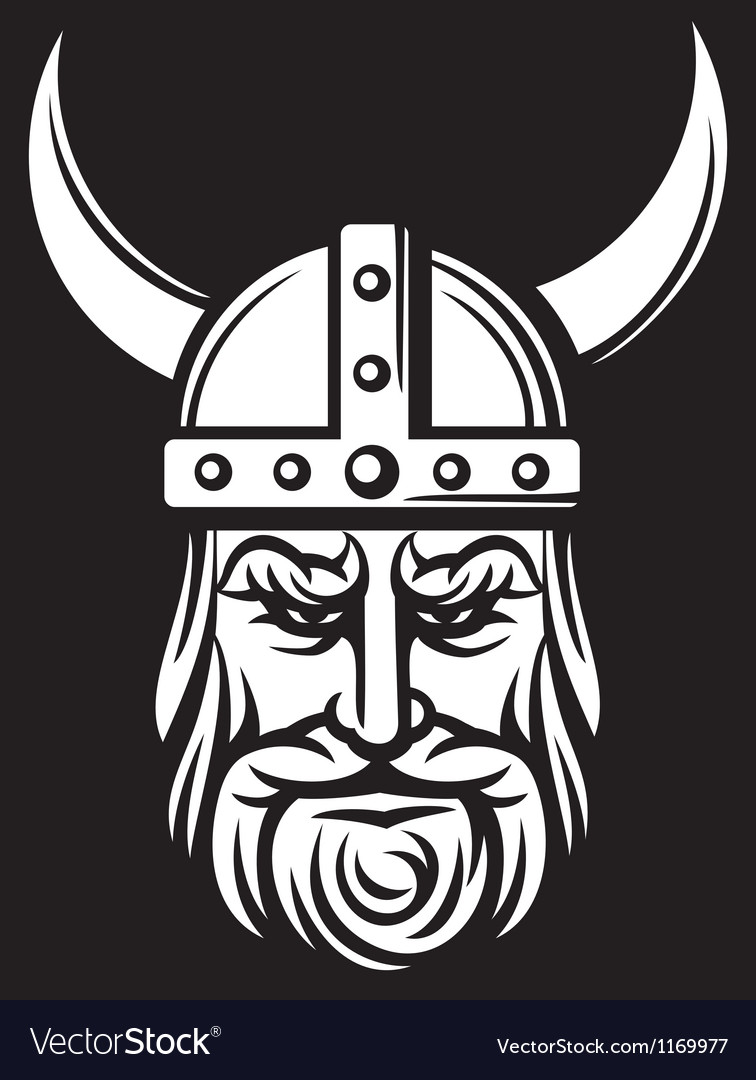 Viking mascot cartoon with horned helmet vector | Price: 1 Credit (USD $1)