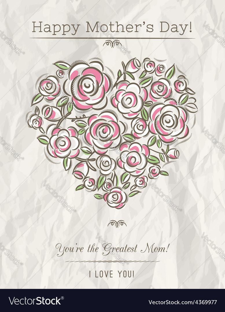 White card with heart of flowers for mothers day vector | Price: 1 Credit (USD $1)