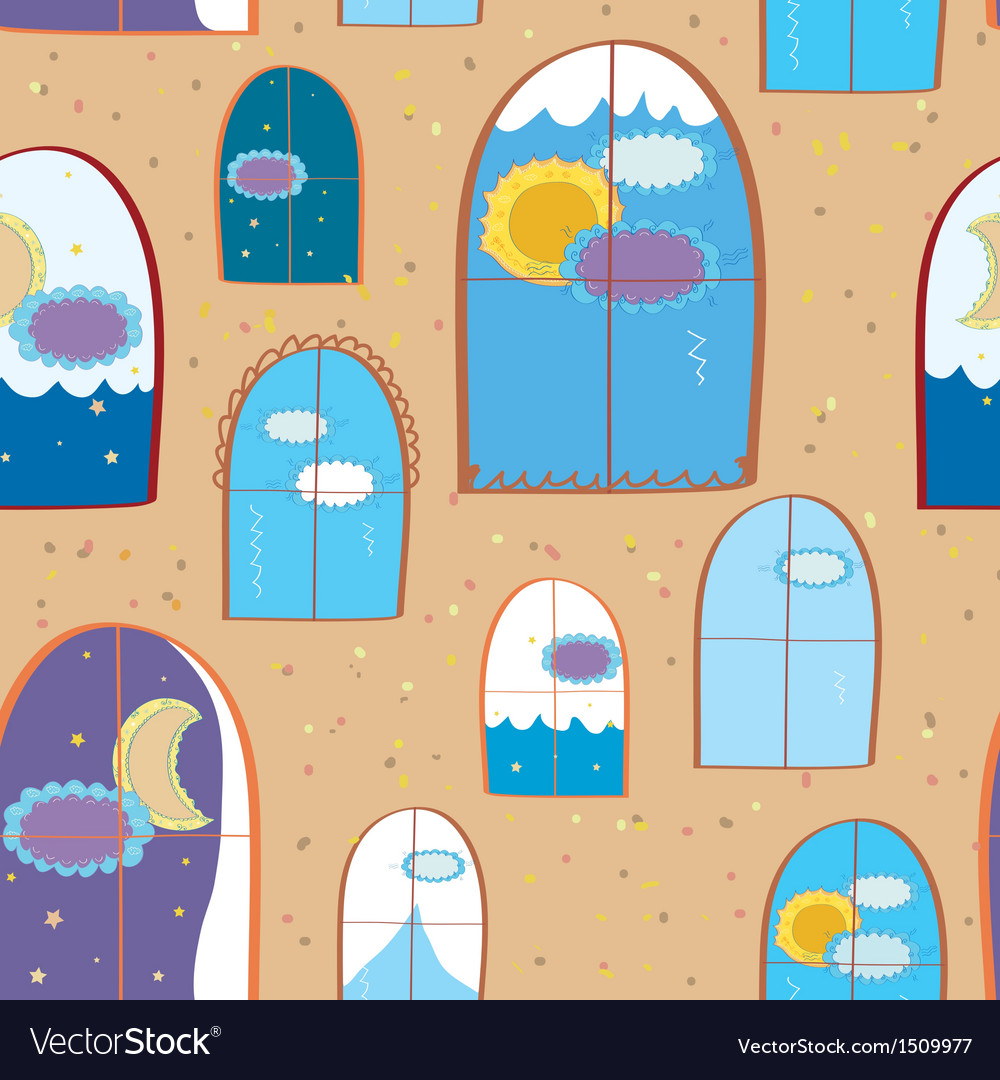 Windows seamless at day and night vector | Price: 1 Credit (USD $1)