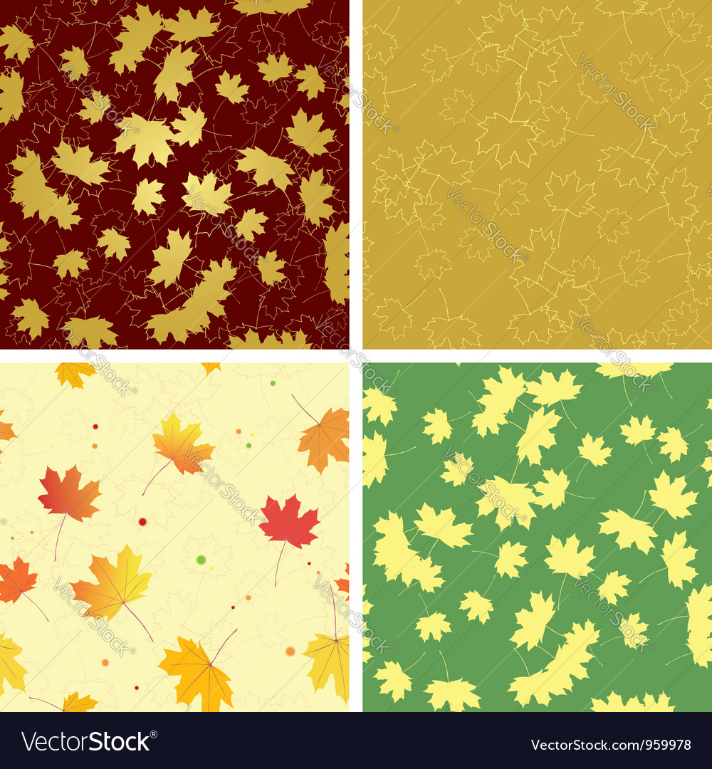 Autumn bright leaves on seamless patterns vector | Price: 1 Credit (USD $1)