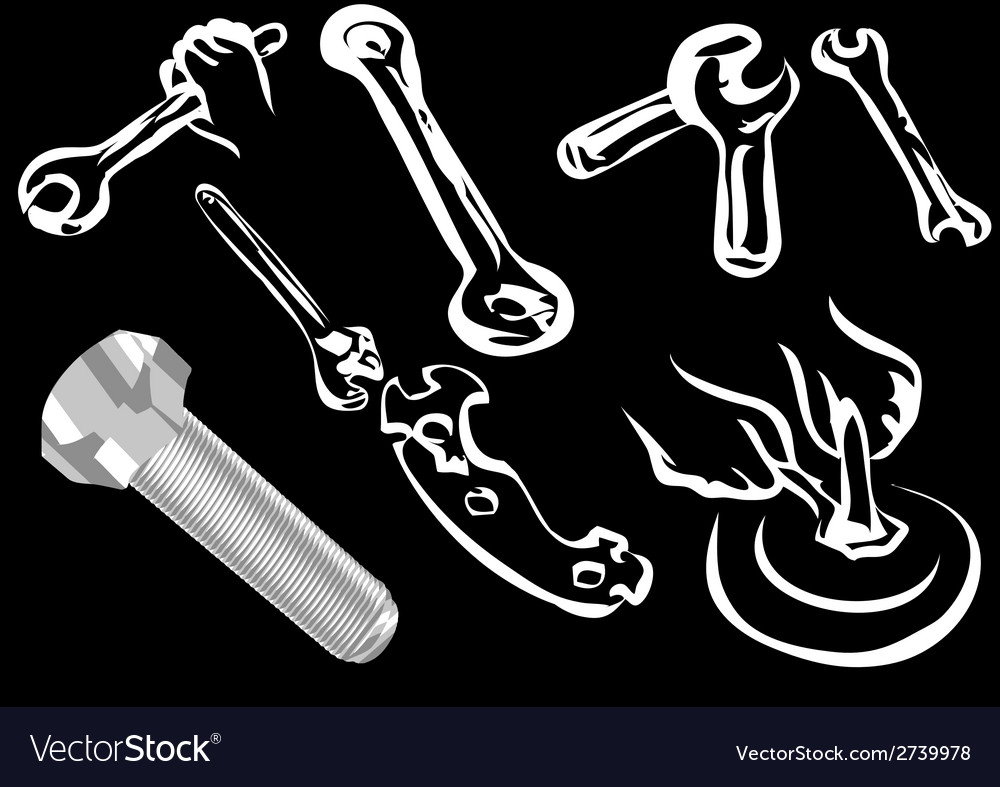 Bolt and tools vector | Price: 1 Credit (USD $1)