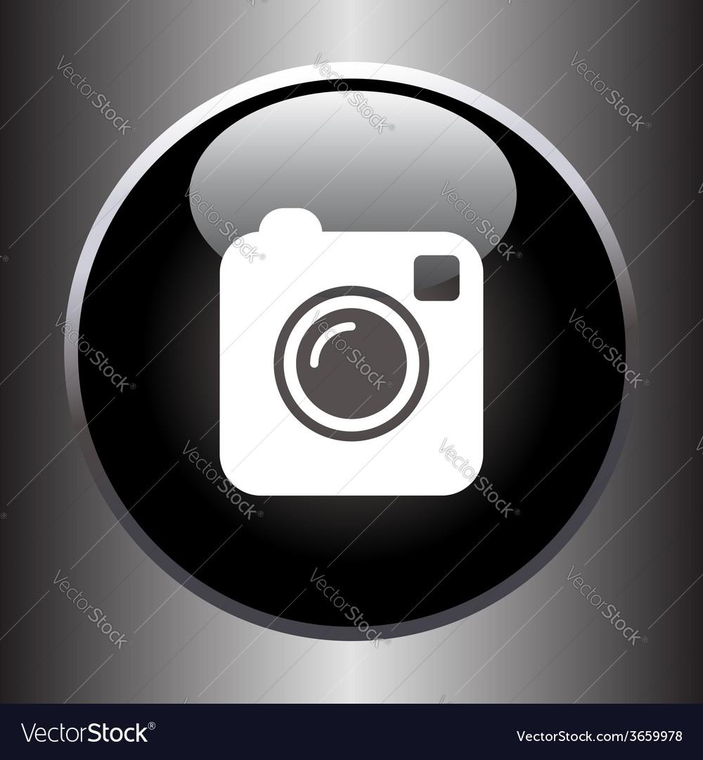 Camera simple icon on black button vector   Price: 1 Credit (USD $1)