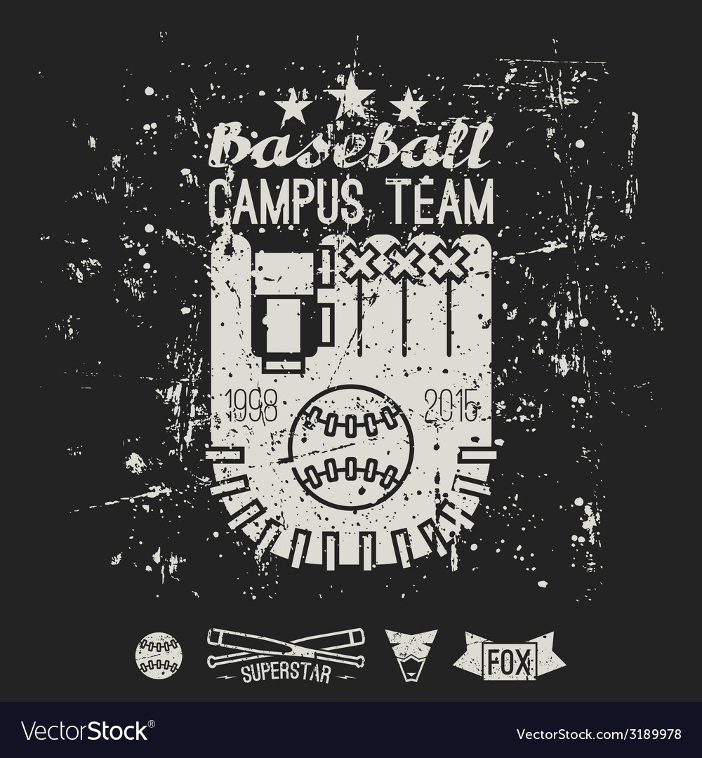 Emblem baseball campus team vector | Price: 1 Credit (USD $1)