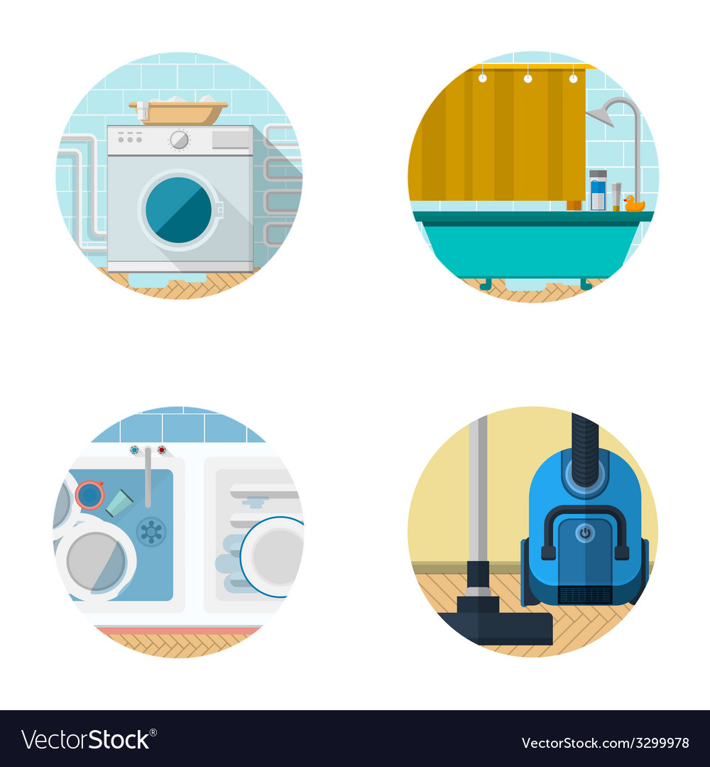 Flat icons collection for housekeeping vector | Price: 1 Credit (USD $1)