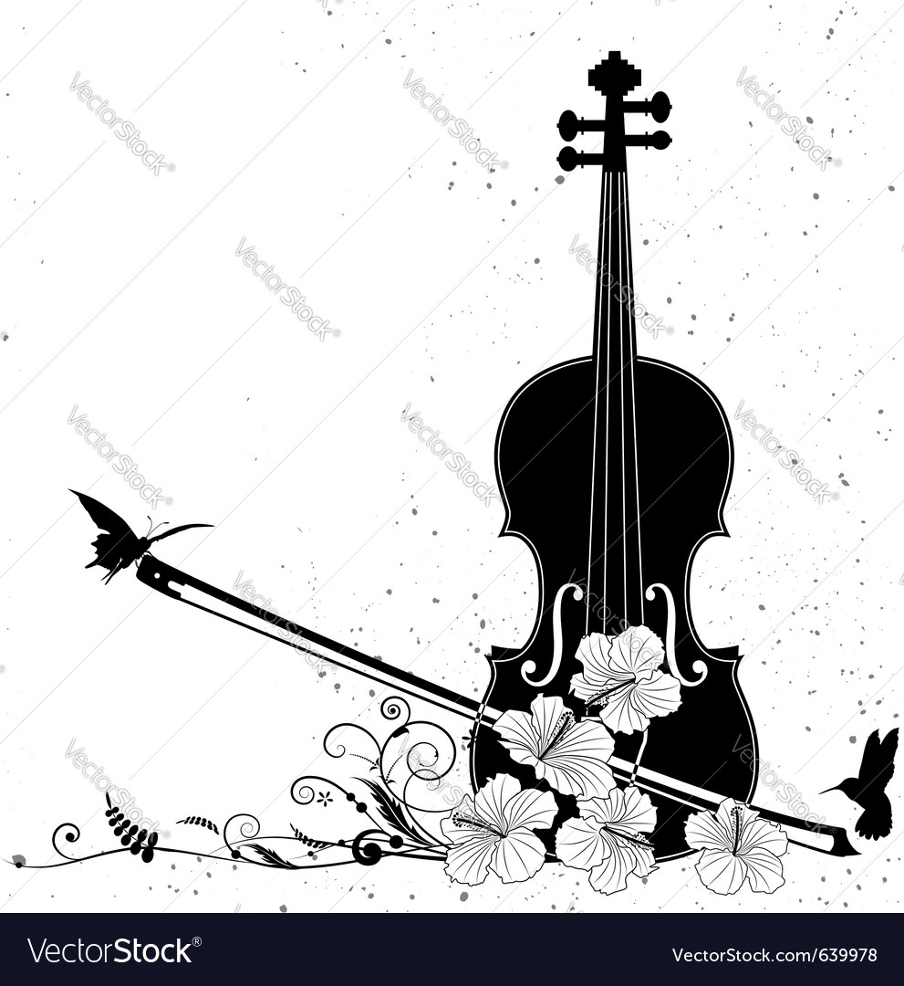 Floral musical composition with violin vector | Price: 1 Credit (USD $1)