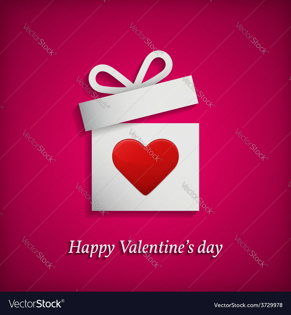 Gift box with heart symbol valentines day concept vector | Price: 1 Credit (USD $1)