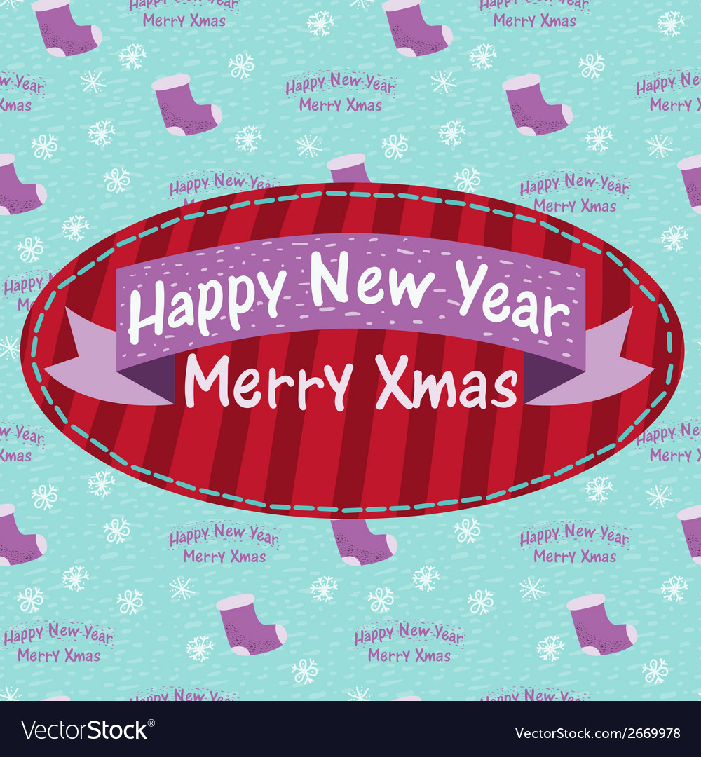 New year and christmas greeting card with a sock vector | Price: 1 Credit (USD $1)