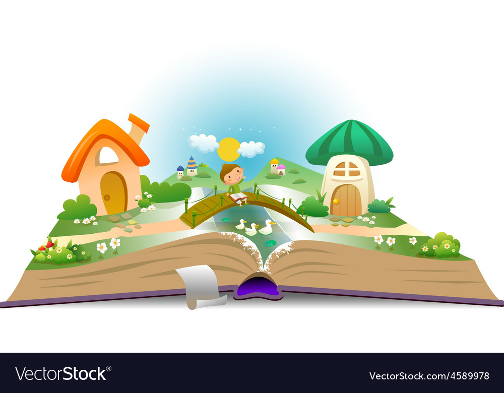 Open book with boy and fairy landscape vector
