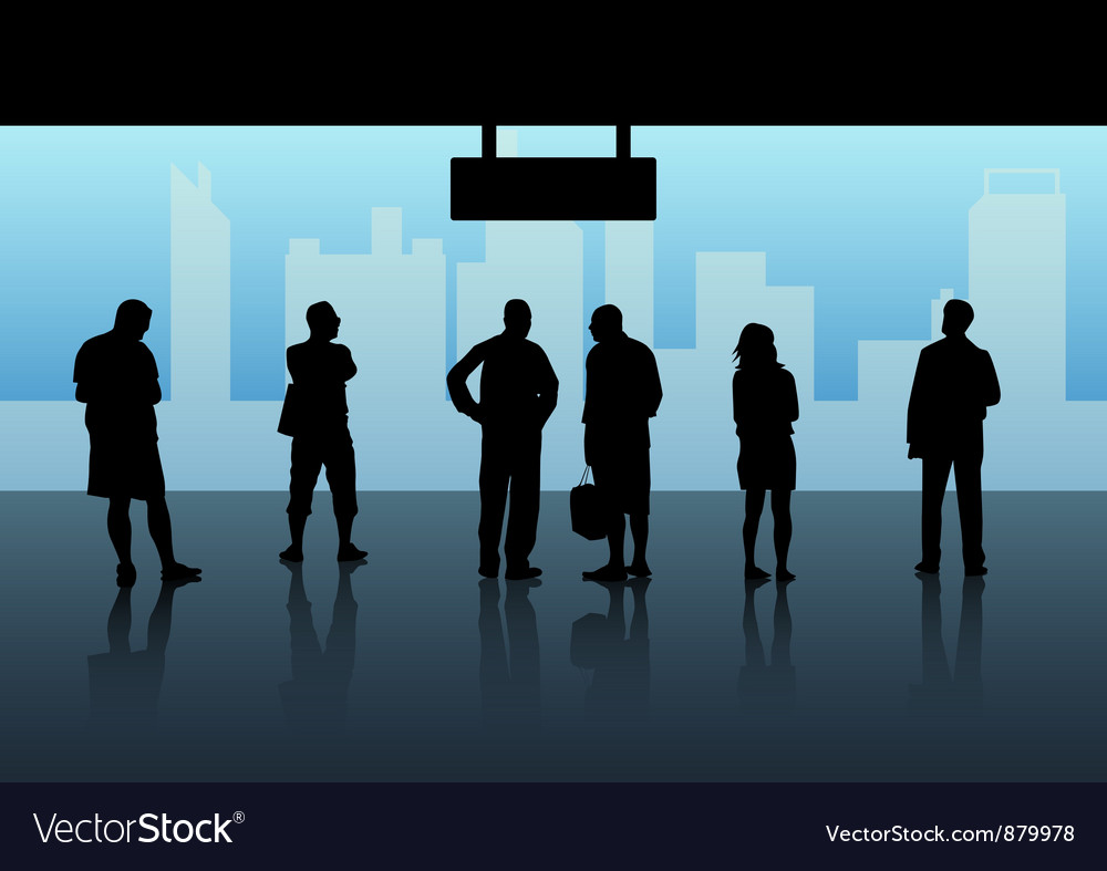 People waiting skytrain vector | Price: 1 Credit (USD $1)