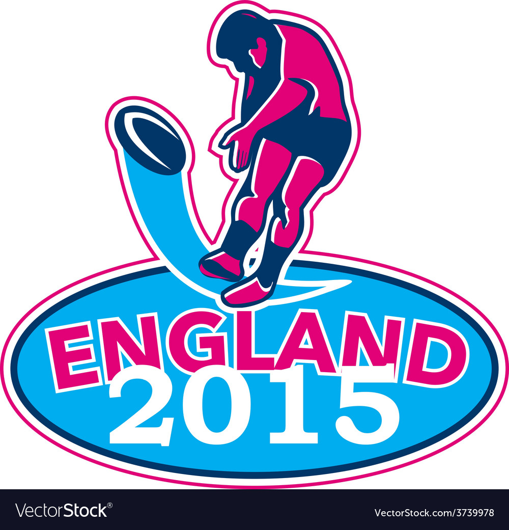 Rugby player kicking ball england 2015 retro vector | Price: 1 Credit (USD $1)