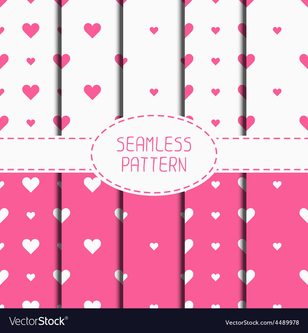 Set of pink romantic geometric seamless pattern vector | Price: 1 Credit (USD $1)