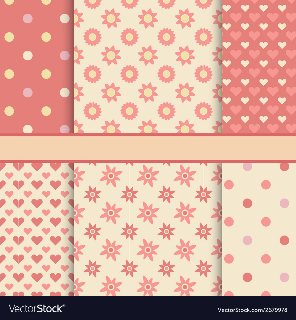 Set of seamless romantic patterns tiling - pink vector | Price: 1 Credit (USD $1)