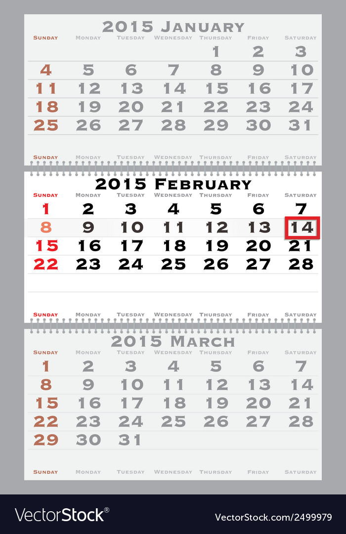 2015 february with red dating mark vector | Price: 1 Credit (USD $1)